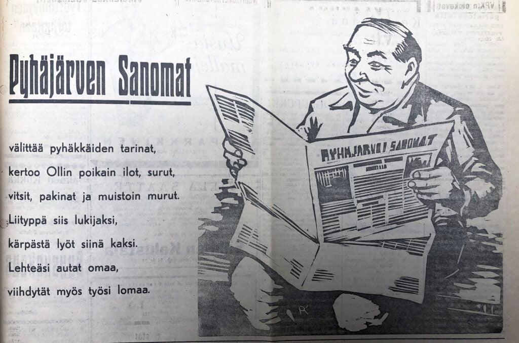 vanha piirretty mainoskuva, mies lukee Pyhäjärven Sanomia.